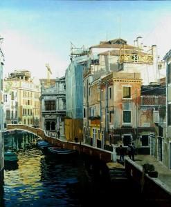 Venice-Rio della Pieta by Christian Barthélemy 65 x 53 cm, Oil